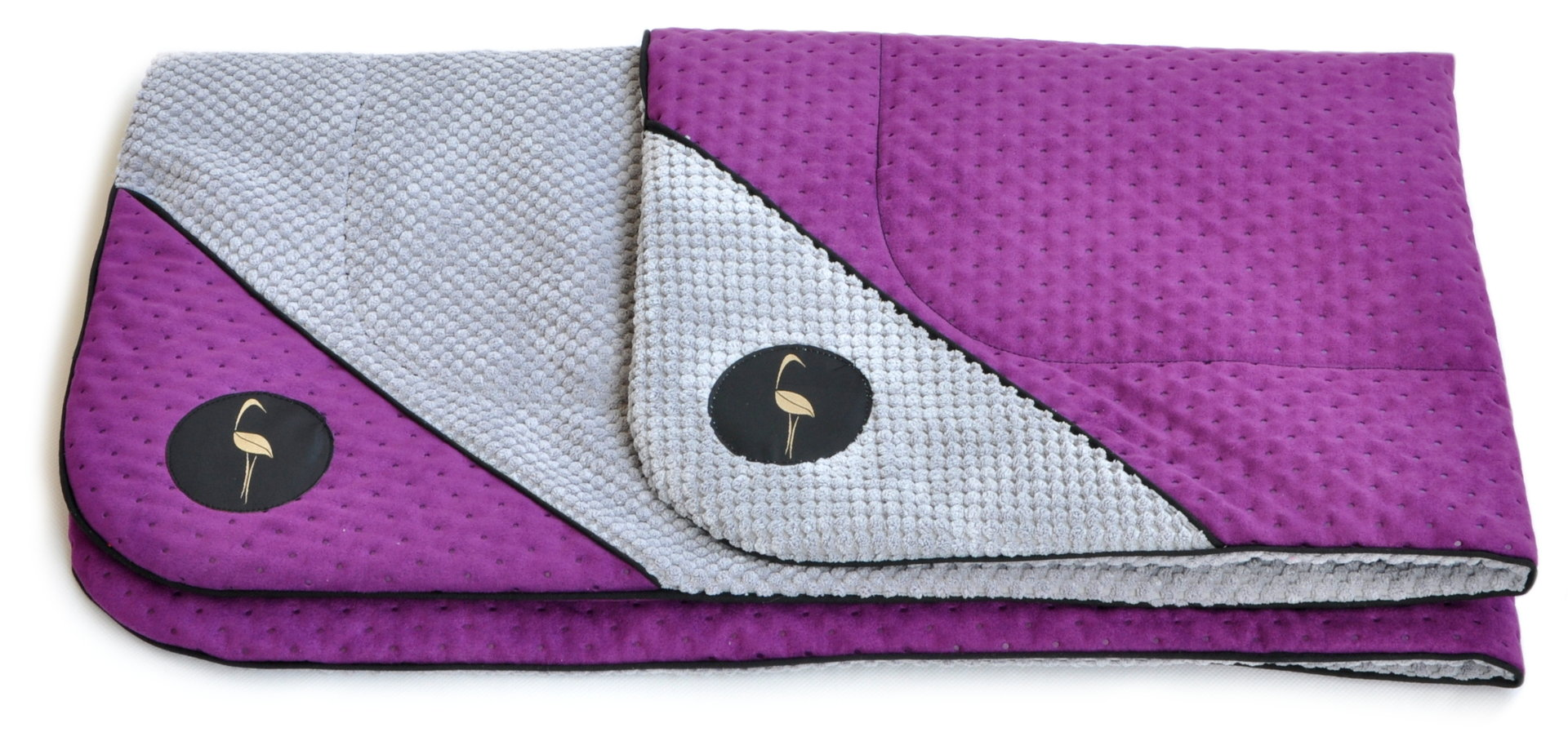 Decke DANTE 100cm x 70cm violett gesteppt / grau